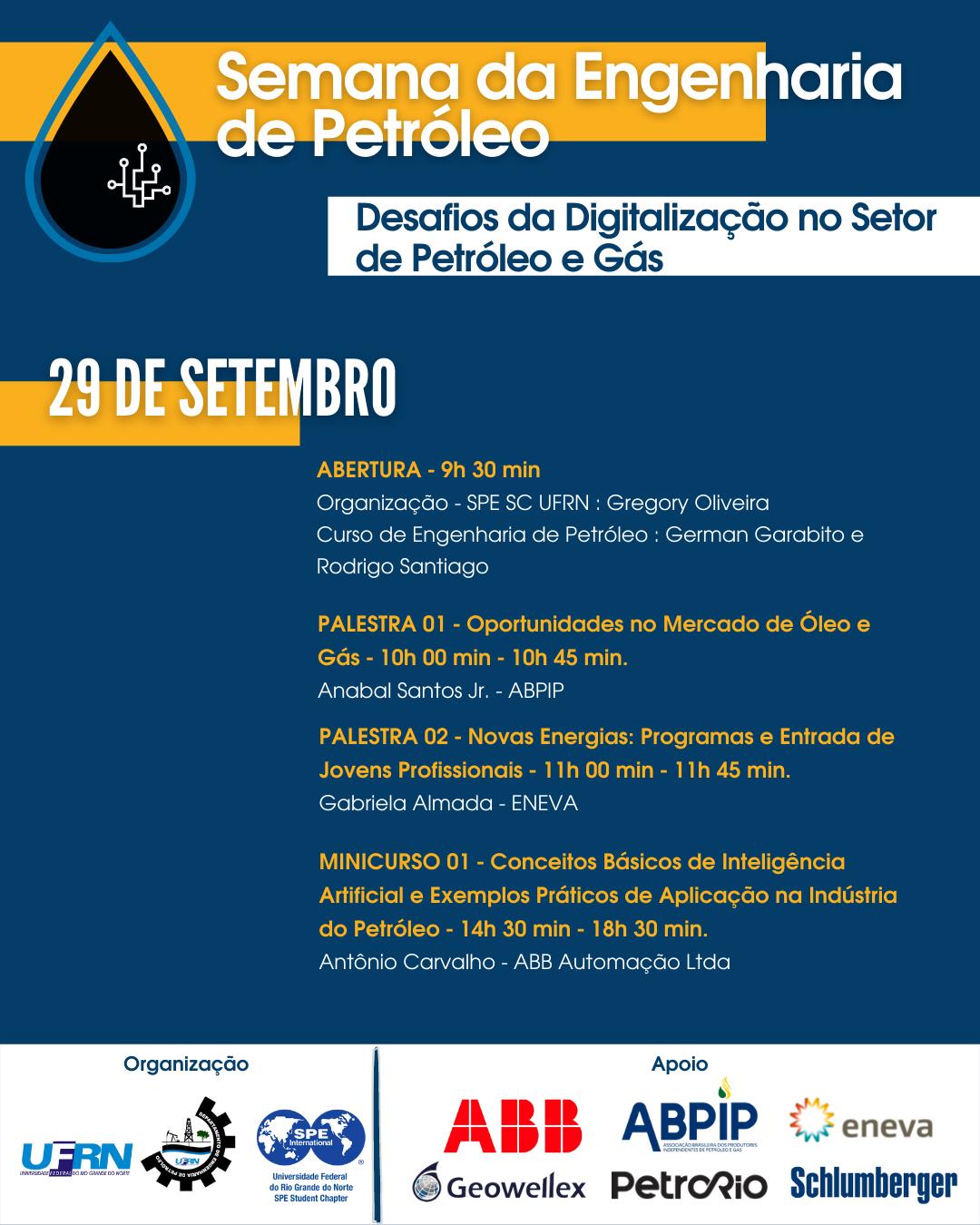 SEMANA DA ENGENHARIA DE PETRÓLEO: DESAFIOS DA DIGITALIZAÇÃO NO SETOR DE PETRÓLEO E GÁS